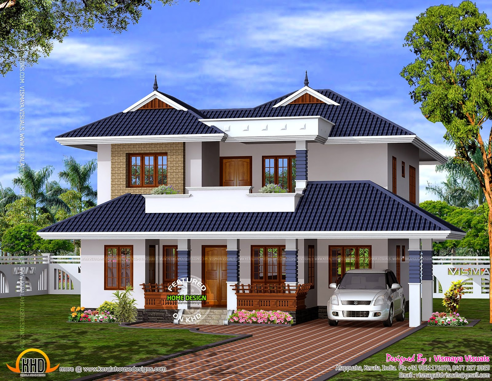 Modern Mix Sloping Roof Elevation Keralahousedesigns