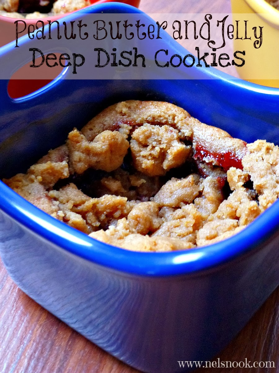 PB&J Deep Dish cookies - Super soft giant peanut butter cookie filled with raspberry filling!  #LoveableLuckyLeaf