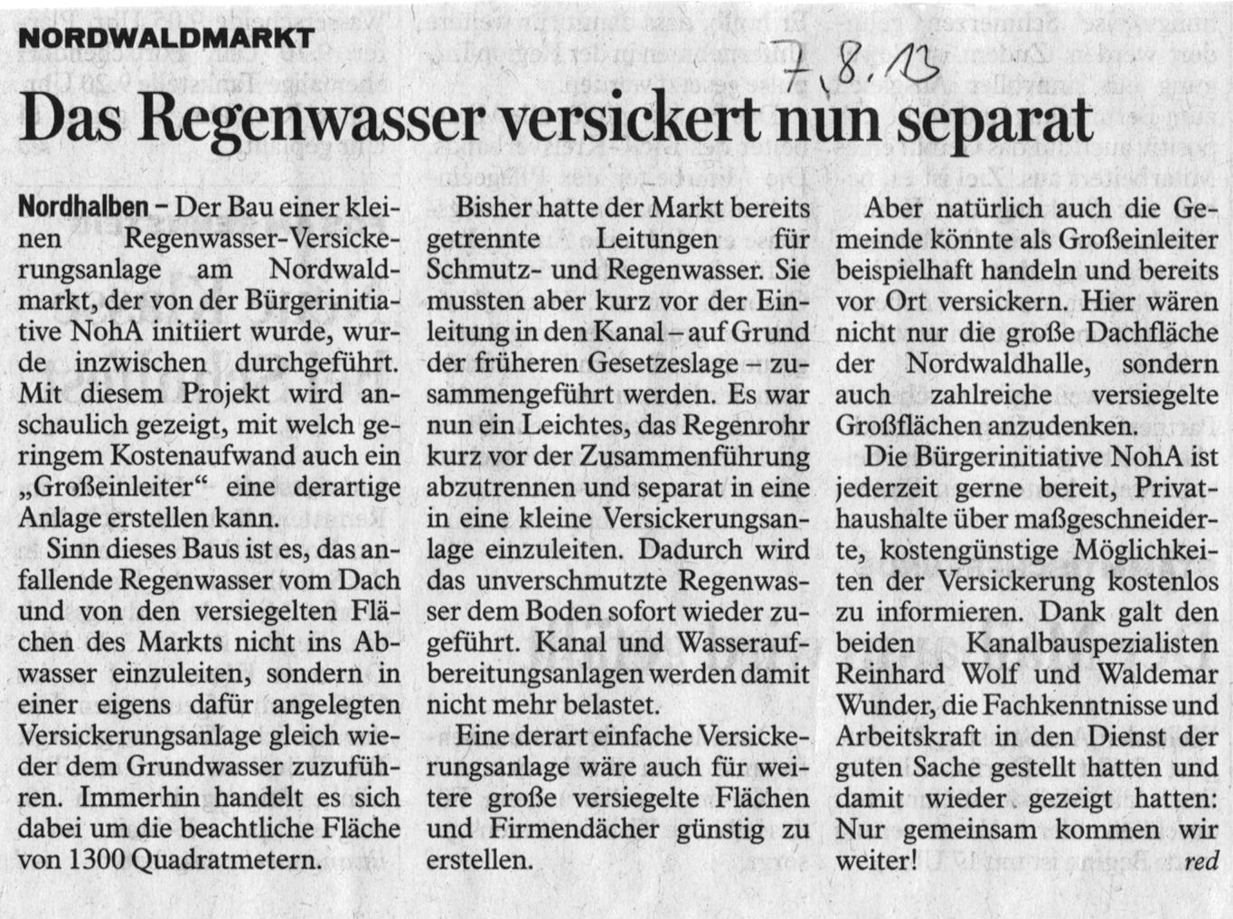 NohA - Nordhalben Aktiv: Zeitungsbericht über die Versickerung am ...