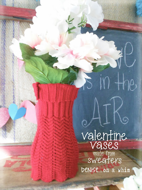 Sweater Sleeve Used to Fancy up a Plain Jane Vase via http://deniseonawhim.blogspot.com