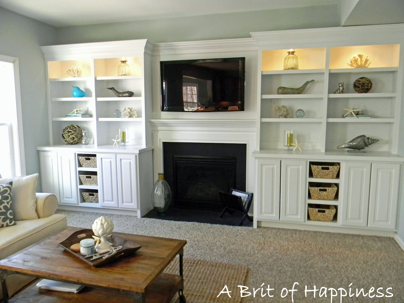 Seaside interiors family room reveal for Built ins living room ideas