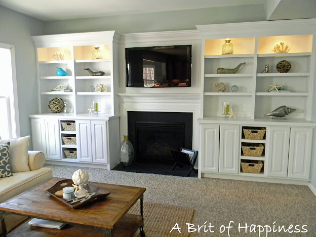 Remodelaholic beach coastal family room makeover for Family room built in cabinets