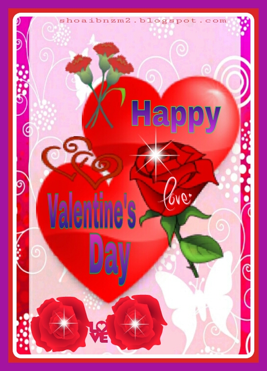 Valentines card and flowers