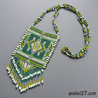 украшения в этническом стиле, зеленый кулон колье из бисера