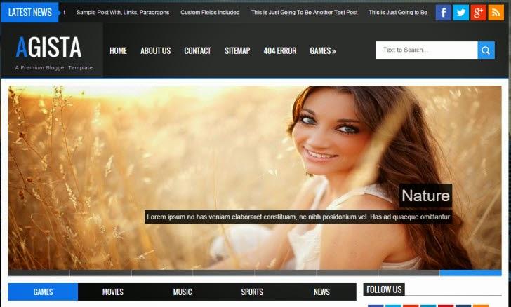 Agista - Responsive Multipurpose Blogger Template