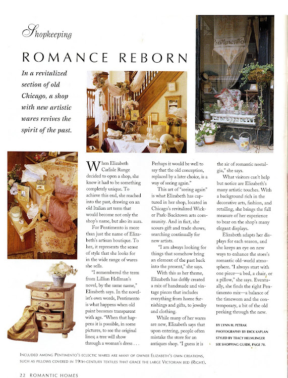 Romantic Home article on ELizabeth's shop