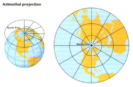 azimuthal map projection Azimuthal projections with azimuthal projections, the uv plane is tangent to the globe the point of tangency is projected onto the center of the plane and its.