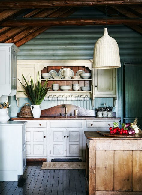 Weekend cabin kitchen content in a cottage for Small log cabin kitchens