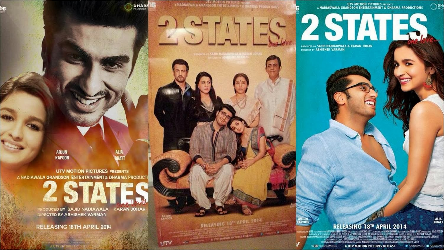 Official posters of 2 States One Love movie featuring Arjun Kapoor and Alia Bhatt