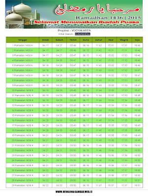 Jadwal Imsyakiyah Gunung Kidul 2015 (1436 H)