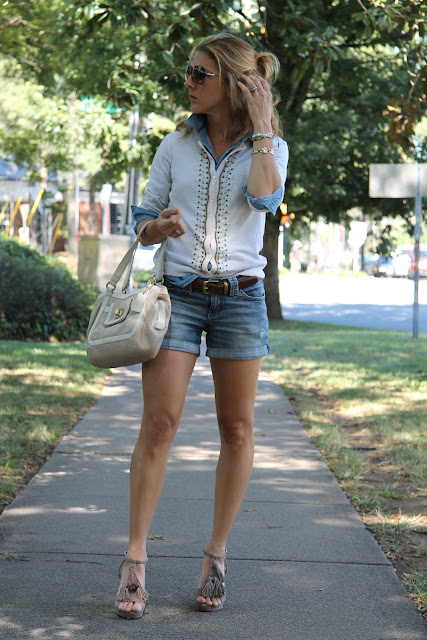 J. Crew Sweater, Forever 21 Chambray Shirt, Jessica Simpson Jean Shorts, Ann Roth Shoes Hotsy Totsy, Blinde Sunglasses, Luv Aj Earrings, Coach Purse,
