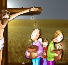 Viñeta que muestra a Jesús en la cruz dejando caer de sus manos semillas que florecen. Patxi Velasco