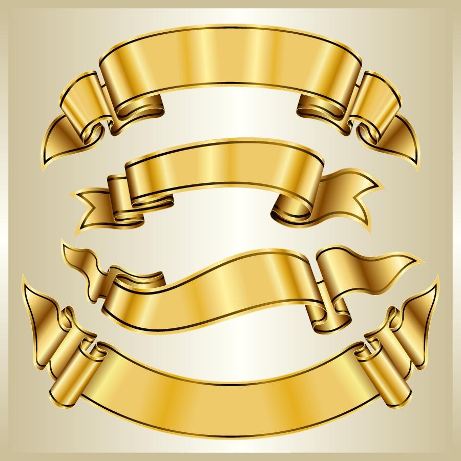 金色に輝くリボンフレーム gold ribbon frame イラスト素材