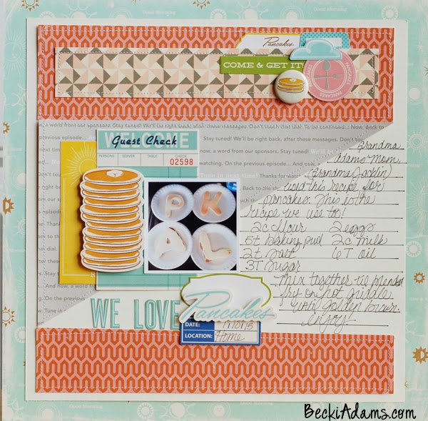 """Pancakes"" by Becki Adams @jbckadams featuring October Afternoon's Saturday Morning collection #scrapbook #papercrafting #layout"