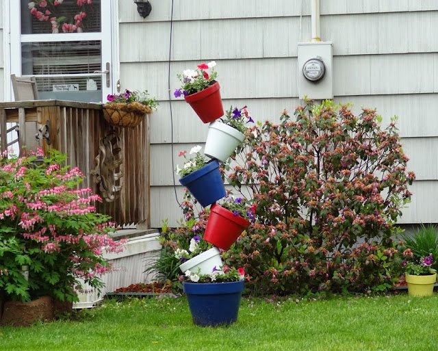 stacked pots,planter,Memorial Day,Bangor,Maine