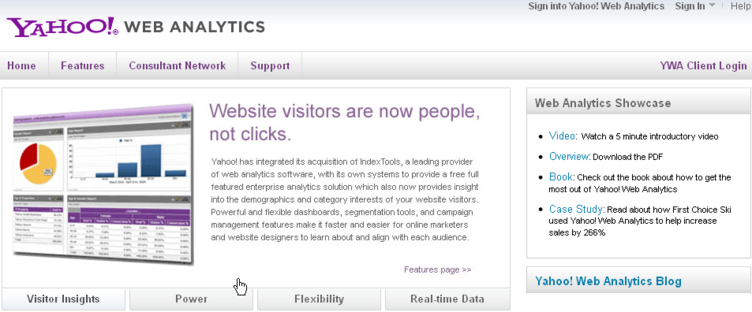 Yahoo Web Analytics tool