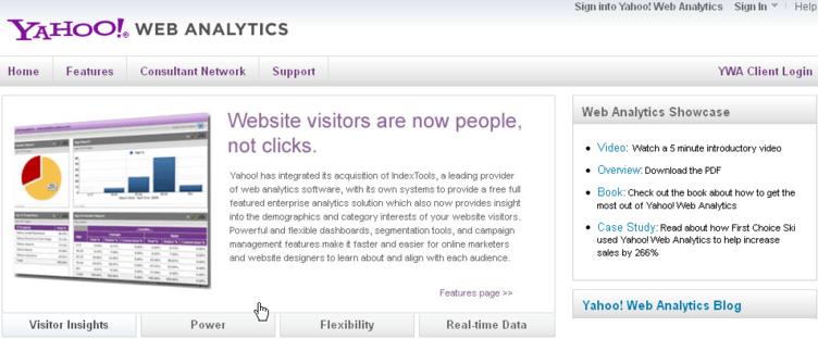 Yahoo Web Analytics tool