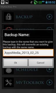 mybackup pro: pilih nama backup