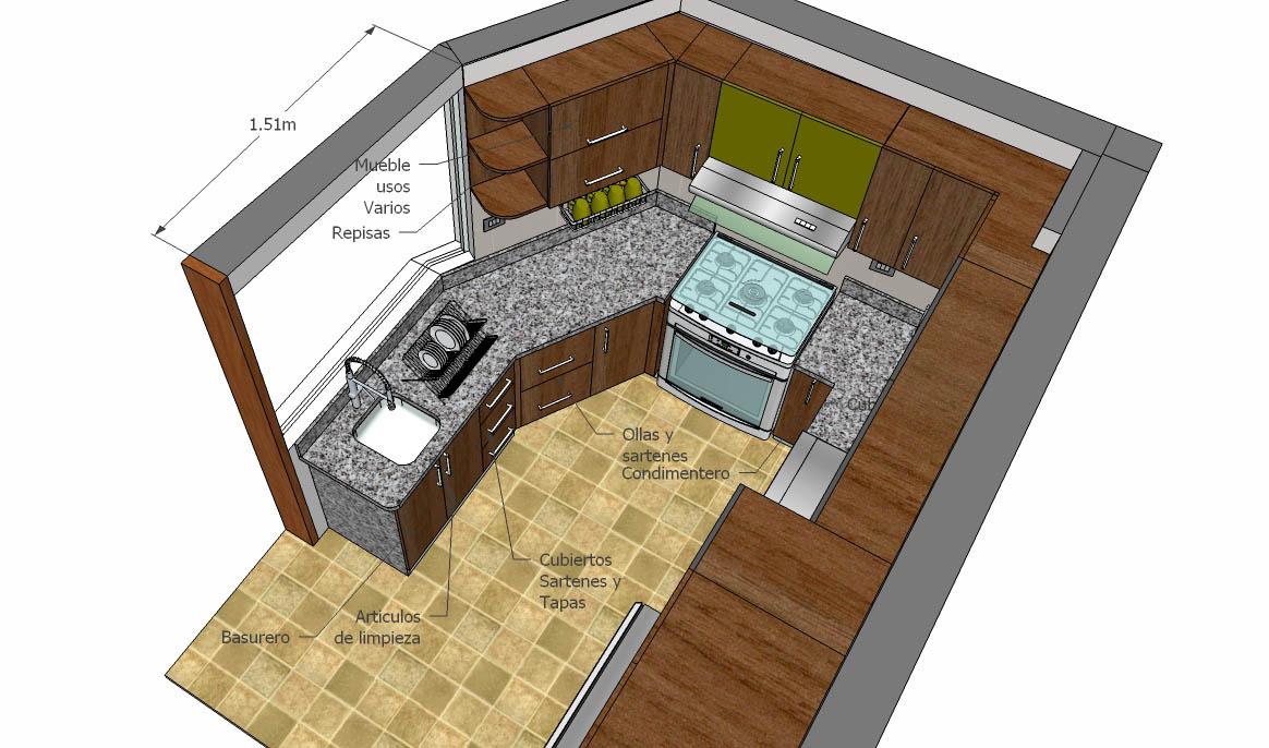 Cristian campos proyecto de remodelaci n de cocina de for Cocina 6 metros cuadrados