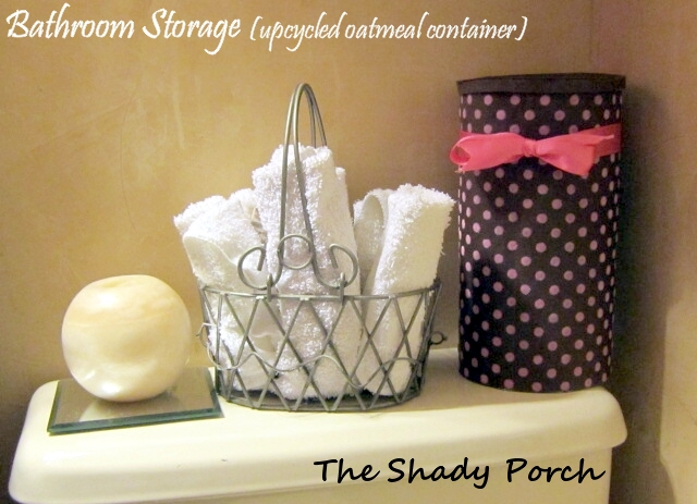 Upcycled Oatmeal Container - Bathroom Storage by The Shady Porch