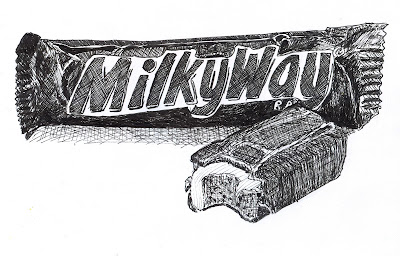 642 Things to Draw 36 - A Milky Way Candy Bar - Pen and Ink by Ana Tirolese ©2012