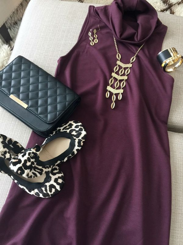 Fall hion- plum dress and leopard flats