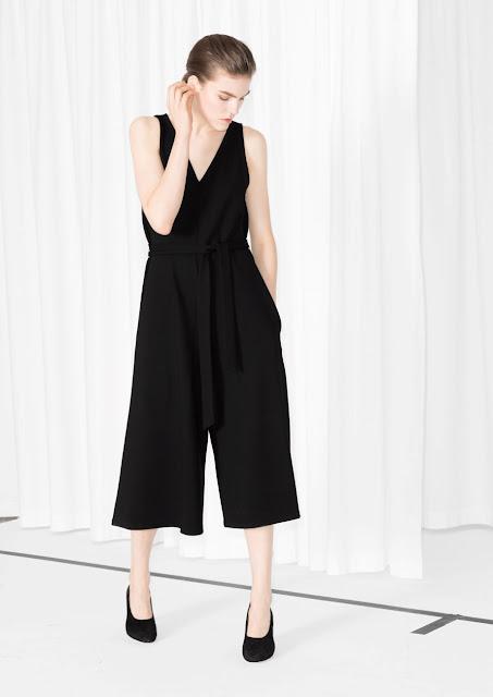 v neck black culotte suit, stories culotte jumpsuit,
