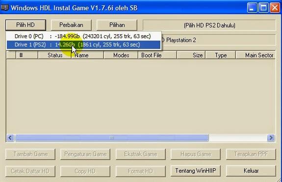 Klik Pilih HDD