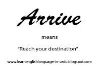 vocabulary lesson no2 - arrive