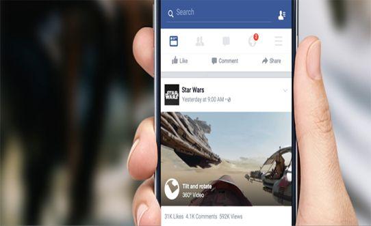 فيس بوك يدعم رفع مقاطع فيديو بانورامية 360 درجة و اول فيديو تم نشره بهذه الميزة هو فيلم الخيال العلمي حرب النجوم