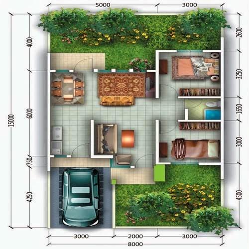 20 denah dan 20 gambar rumah tipe 60 minimalis modern 2016