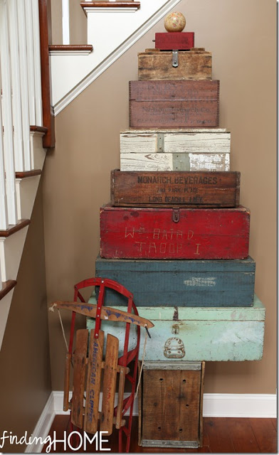 Stacked crate Christmas Tree, by Finding Home, featured on Funky Junk Interiors