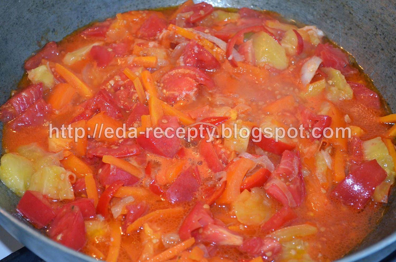 Чечевица с овощами и курицей: помидоры закипели