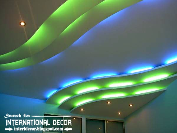 LED ceiling lights, LED strip lighting, plasterboard false ceiling colored d lights