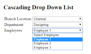 Output of Binding One DropDownList Based On Another DropDown List | Cascading dropdownlist in ASP.Net C#.Net
