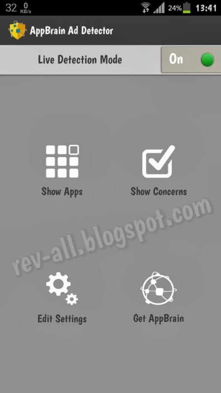 Tampilan utama aplikasi AppBrain Ad Detector - aplikasi untuk mendeteksi jenis iklan (anti adware) pada android (rev-all.blogspot.com)