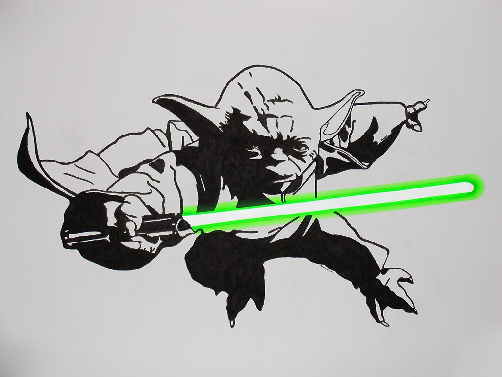 A wall painting of Yoda