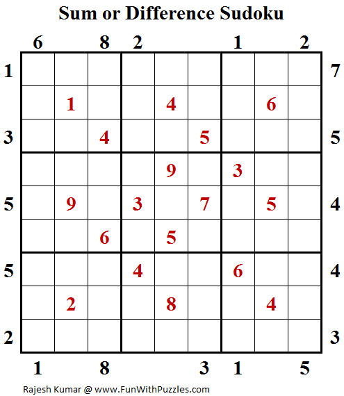 Sum or Difference Sudoku (Fun With Sudoku #136)