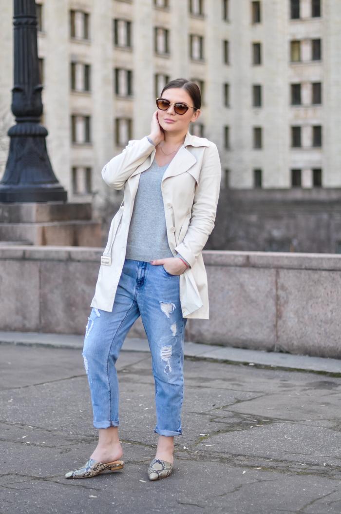 Flat pointed toe mules flat mule shoes trend spring 2015 H&M SS2015 Studio Kira Plastinina trench coat Zara boyfriend jeans Uniqlo cashmere sweater Russian fashion blog