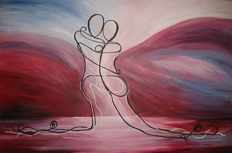 lovers embrace art. Lines -- Romantic Artwork