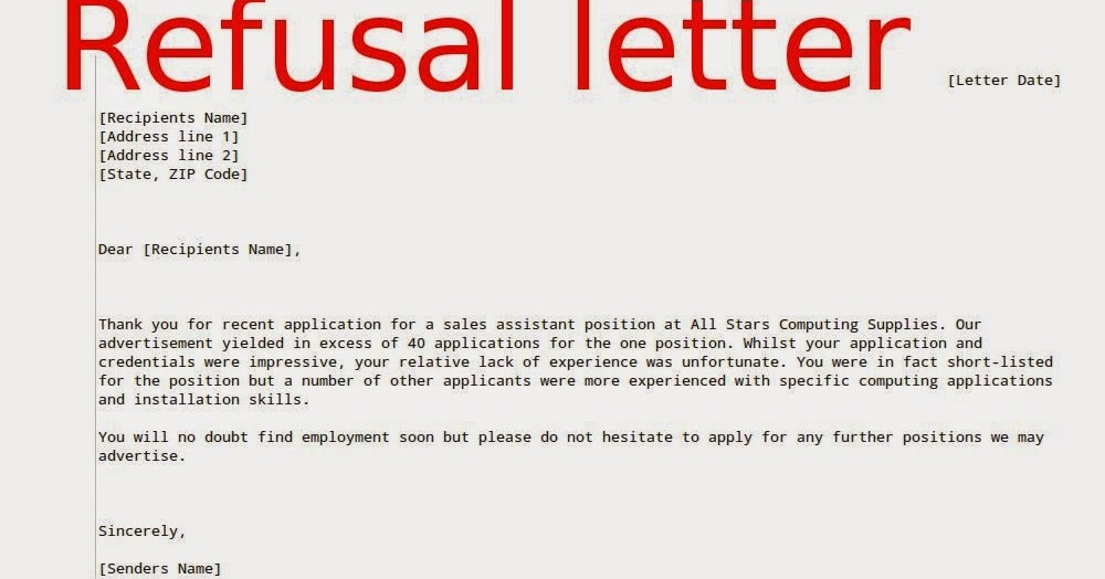 Job Refusal Letter Sample ~ Samples Business Letters