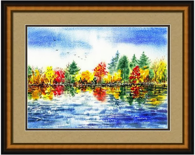 Trees Red Yellow Autumn watercolor