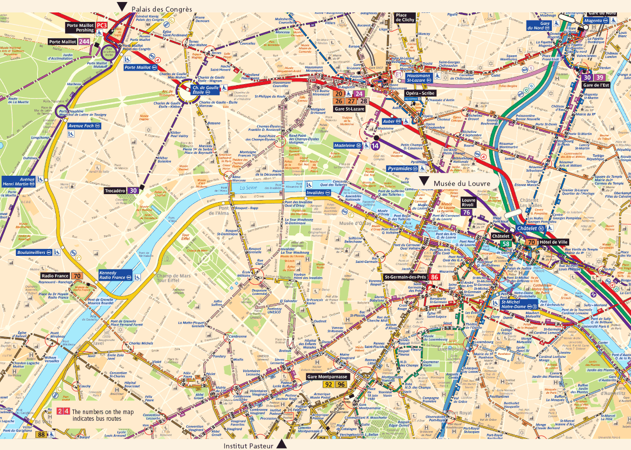 Easy Map Of Paris Paris City Map Simple Paris Attractions Map – Paris Tourist Map English