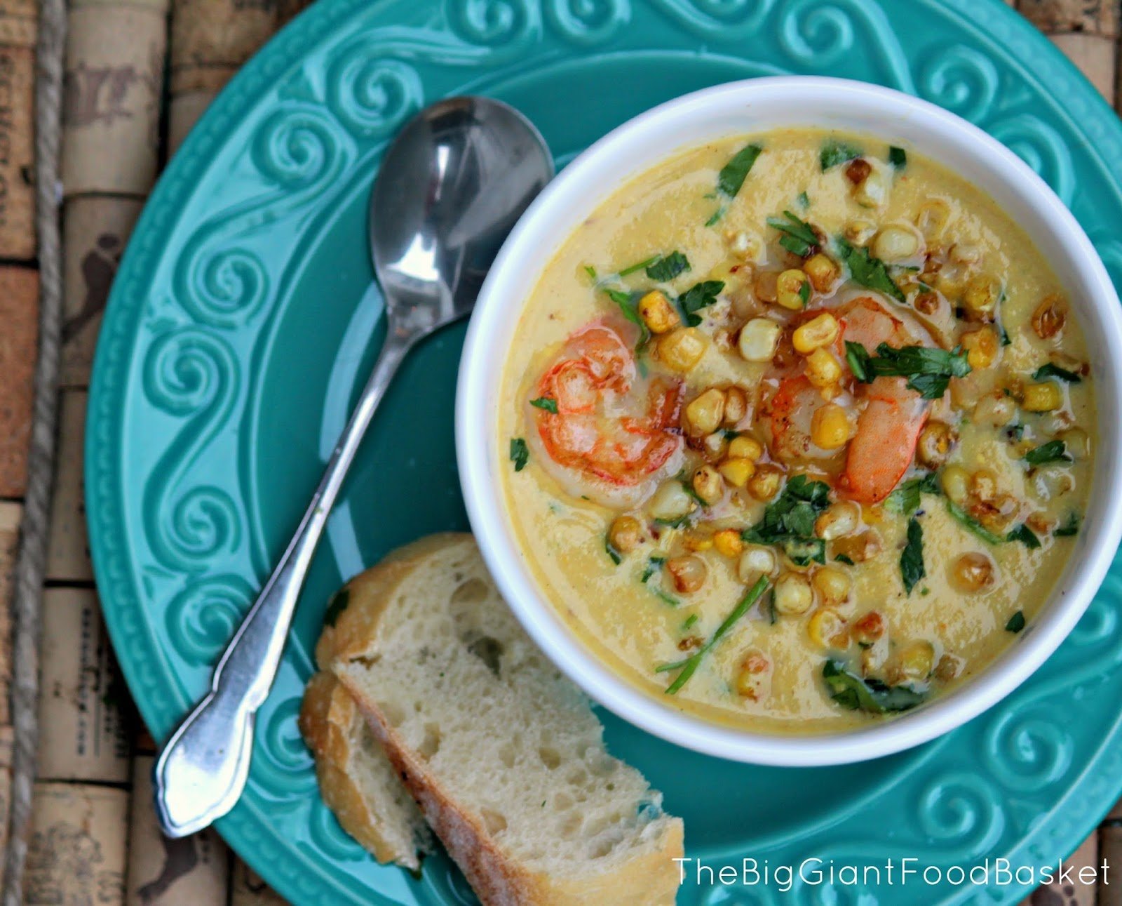 The Big Giant Food Basket: Roasted Corn Chowder with Shrimp