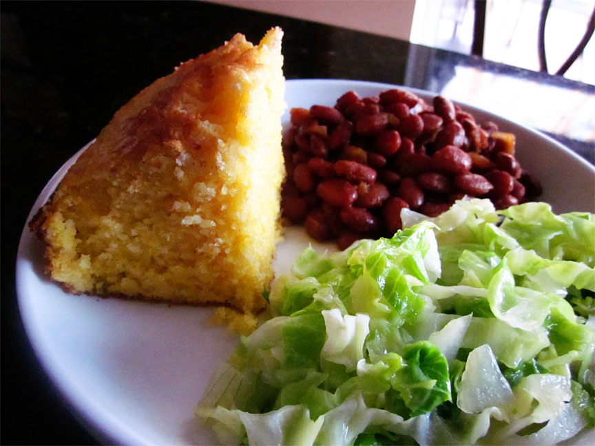 Homesteader Cornbread with Slow Cooker Baked Beans and Sauteed Cabbage