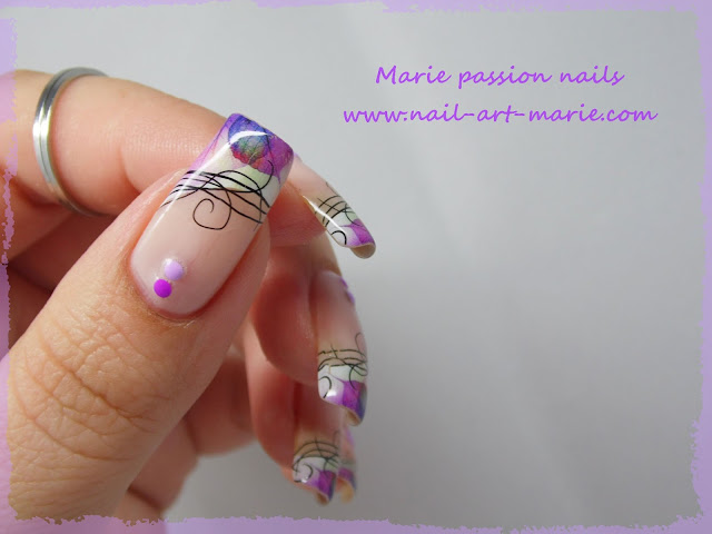 Nail Art Water décals french violette3