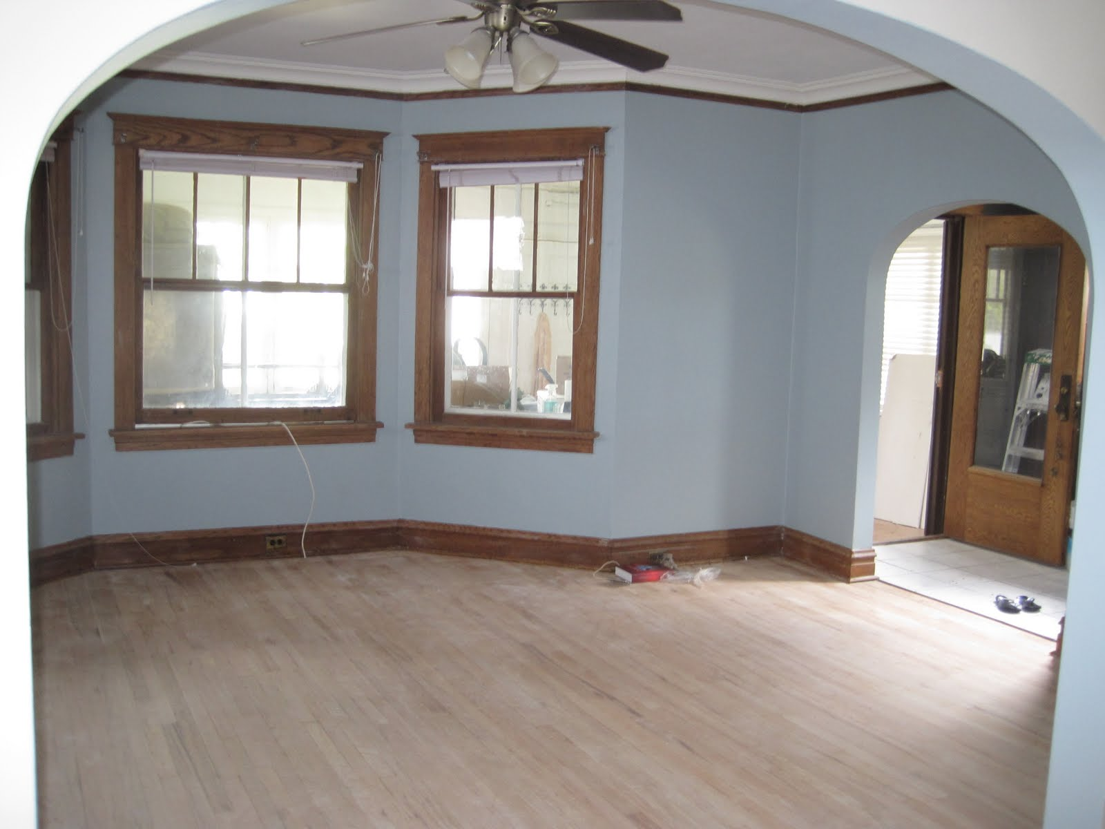 Light blue painted rooms home design inside for Paint colors for wood trim