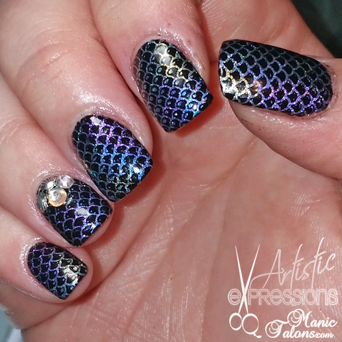 Gel Nail Extensions with Mermaid Design