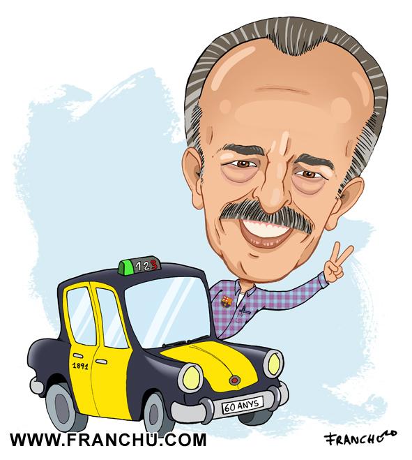 Caricatura para regalo de cumpleaños de taxista