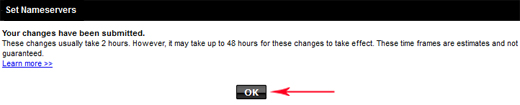 Change Nameservers at GoDaddy-Click OK